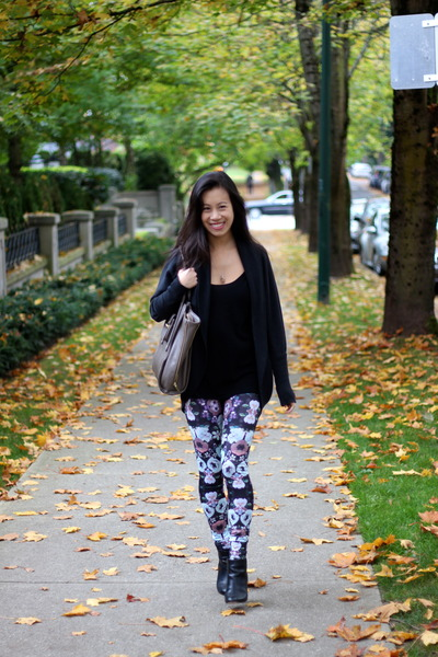 black leather Joie boots - violet floral print H&M leggings