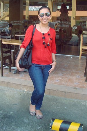 Forever 21 jeans - red thrifted blouse - Express flats - Tomato watch