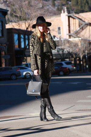 Forever 21 hat - mm6 boots - IRO leggings - Celine bag - asos cardigan