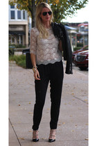 Forever 21 blouse - Zara jacket - Ray Ban sunglasses - Enza Costa pants