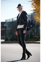 leather Zara jacket - MM6 Opening Ceremony boots - Zara jeans - JCrew sweater