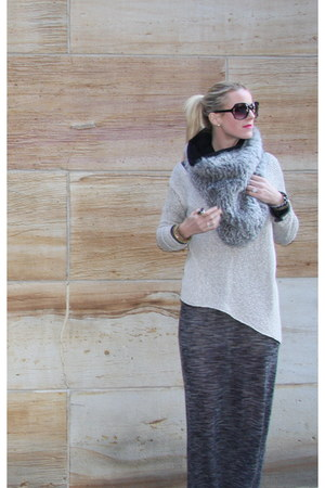 fur Helmut Lang scarf - suede Prada boots - woolater dress ALC dress
