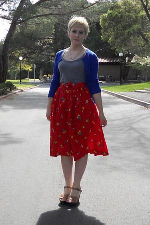 heather gray scoopneck alternative apparel shirt - blue stretchy thrift cardigan