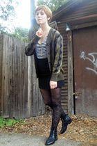 black thrift skirt - white thrift shirt - brown thrift cardigan - black thrift b