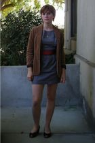 gray Lulus dress - red thrift belt - brown Jeffrey Campbell shoes - beige thrift