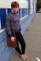 blue thrift sweater - blue Levis jeans - beige thrift shoes - brown coach purse