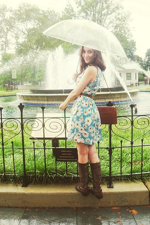 turquoise blue daisy asos dress - dark brown bag - brown belt