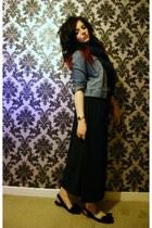 black maxi skirt vintage skirt - denim jacket vintage jacket - Topshop scarf