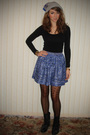 Silver-hat-black-h-m-top-blue-skirt-black-tights-black-boots