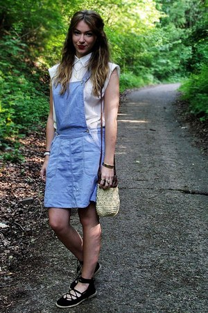 light blue dungaree style new look dress - tan H&M bag - white New Look kids blo