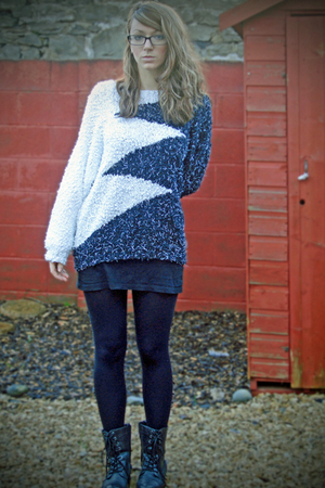 white Ebay sweater - black website boots - black Topshop tights
