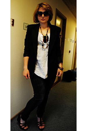 black H&M blazer - white Topshop top - brown Bianco shorts - brown H&M jeans - b