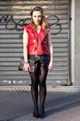 Black-leather-urban-outfitters-shorts-ruby-red-leather-louis-vuitton-top