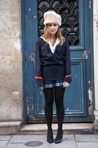 beige vintage hat - navy vintage blouse - blue vintage skirt