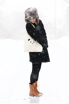 ivory pandafights bag - tawny Joie boots - black Rachel Comey coat
