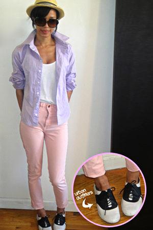 beige American Apparel jeans - purple American Apparel shirt - white American Ap