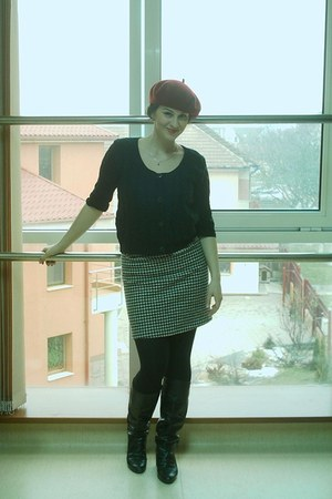 boots - H&M hat - random brand cardigan - black and white Mexx skirt