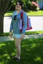 white J Crew shorts - heather gray H&M sweater - red tory burch bag
