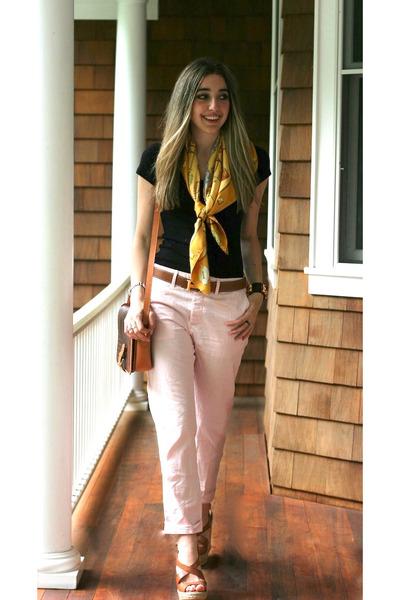 Tawny Cork Prada Wedges, Black Tee Gap Shirts, Gold Silk Hermes ...
