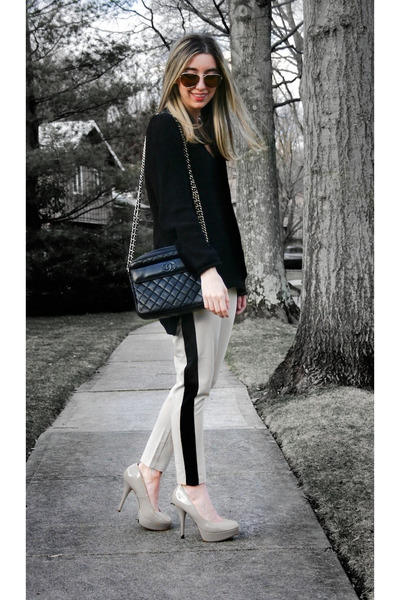 off white two tone asos pants - black asos sweater - black vintage Chanel bag
