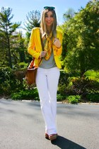 yellow linen lauren ralph lauren blazer - white J Brand jeans