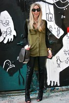 olive green dipped hem Double zero blouse - black peep toe Payless boots