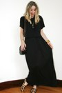 black crop top H&M t-shirt - black maxi Forever 21 dress
