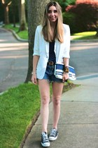 white Forever 21 blazer - navy striped clutch rugby bag