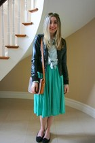 aquamarine polka dot Ella Moss dress - black motorcycle H&M jacket