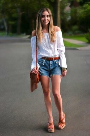 sky blue vintage Levis shorts - tawny fringe H&M bag - tawny cork Prada wedges