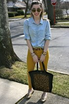 yellow skinny jeans asos jeans - sky blue chambray J Crew shirt
