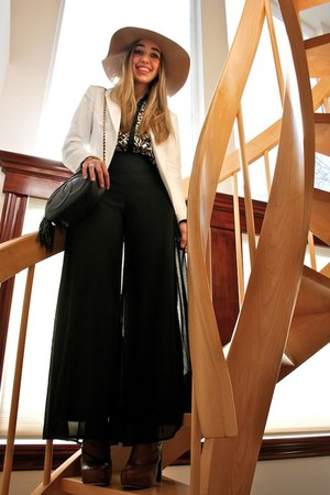 white H&M blazer - tawny platforms Alexander Wang boots
