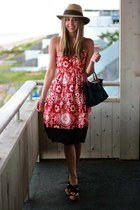 ruby red printed Tocca dress - navy longchamp bag - black castaner wedges