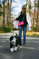 black point toe Nordstrom boots - white pea coat Ralph Lauren coat