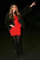 black Zara jacket - red Charlotte Russe dress - black HUE tights