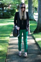 green skinny Zara jeans - black H&M blazer
