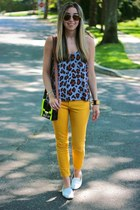 mustard skinny jeans asos jeans - chartreuse neon asos bag