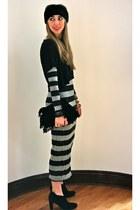 heather gray maxi dress H&M dress - black lace-up booties sam edelman boots