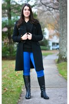 black sweater coat Ralph Lauren coat - blue skinny Guess jeans