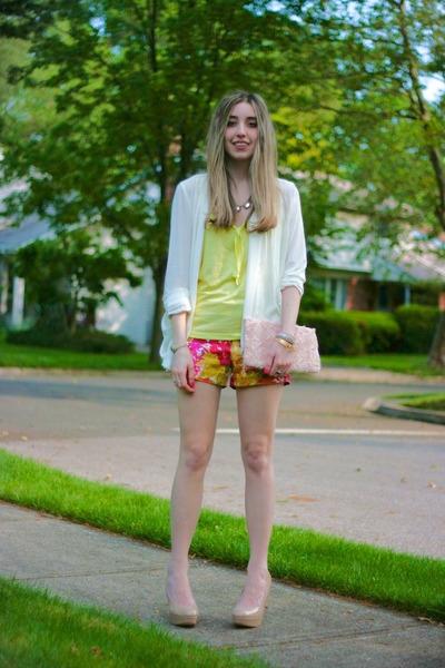 light pink floral H&M bag - ivory Forever 21 jacket