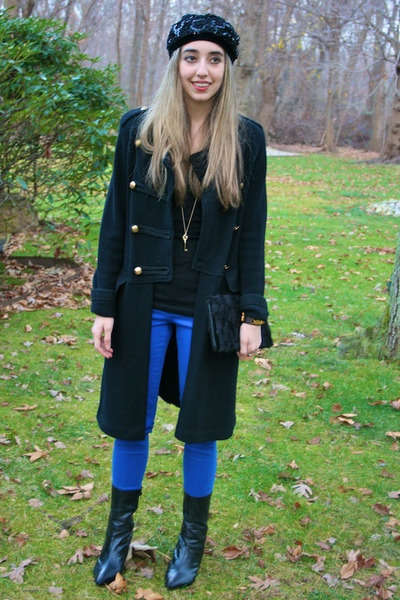 black sweater Ralph Lauren coat - blue skinny jeans Flying Monkey jeans