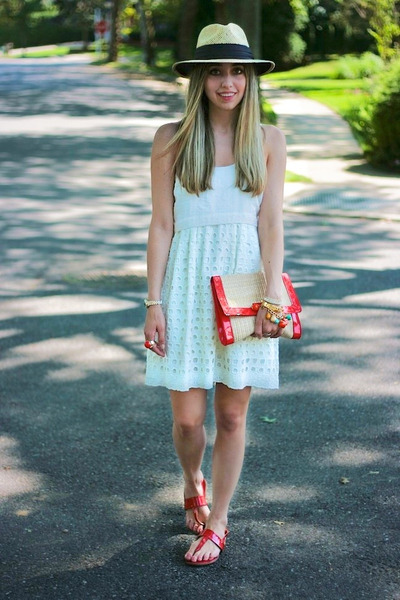 white Walter Baker dress - ruby red clutch H&M bag