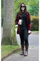 dark brown cowboy Lucchese boots - brick red cardigan asos sweater