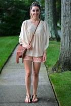 ivory Forever 21 blouse - tawny fringe H&M bag
