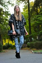 navy poncho dolan sweater - black fringe booties sam edelman boots