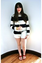 navy striped American Apparel sweater - white cross-body Chanel bag - white J Cr