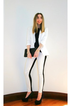 white two tone Hudson jeans - white boyfriend H&amp;M blazer