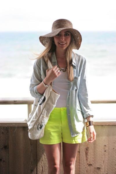 36573b6f685de chartreuse neon Gap shorts - camel straw hat JCrew hat - white tank Hanes  shirt