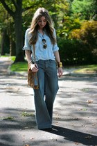 Hermes bracelet - Nine West boots - chambray JCrew shirt