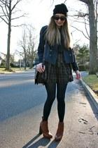 tawny anabela boots Alexander Wang boots - navy plaid Gap dress